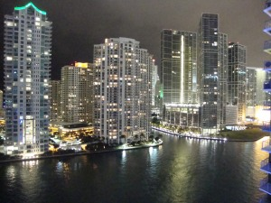 Brickell Key Miami River View Night