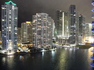 Brickell Key Miami River View Night